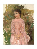 Girl in a Pink Dress Giclee Print by Harry Watson