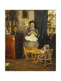 An Interior with a Mother and Child (The Artist's Family) Giclee Print by Viggo Pedersen