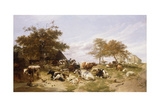 A Dairy Farm on the Marshes, East Kent, 1859 Giclee Print by Thomas Sidney Cooper