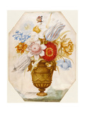 Still Life of Flowers in a Vase Which Stands on a Ledge with a Butterfly Resting on Narcissi Giclee Print by Nicolas Robert