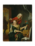 Portrait of a Gentleman and His Wife Making Music in an Interior Giclee Print by Philip van Dijk
