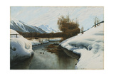 Near La Punt, St. Morritz in the Engadine Valley Giclee Print by Peder Mork Monsted