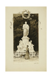 An Elegant Lady at the Statue of Goethe, 1888 Giclee Print by Paul Fischer