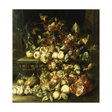 Grapes, Figs, Raspberries and Other Fruit on a Stone Ledge Giclee Print by Alexander Coosemans