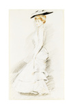 An Elegant Lady in a White Dress Giclee Print by Paul Cesar Helleu