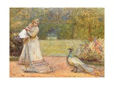 Lady and a Peacock Giclee Print by George John Pinwell