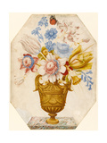 Flowers in a Vase Which Stands on a Marble Ledge with a Butterfly Resting on the Flower Giclee Print by Nicolas Robert