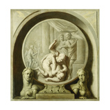 A Decorative Roundel with Odysseus Fighting the Beggar, and with Sphynxs Giclee Print by Jacob De Wit