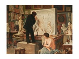 My Father's Studio Giclee Print by Edouard-Joseph Dantan