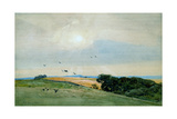 An Extensive Landscape with Rocks, a Castle, Possibly Bamburgh, Beyond, 1892 Giclee Print by Frederick George Cotman
