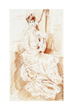 Madame Helleu Seated by a Harp Giclee Print by Paul Cesar Helleu