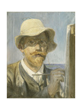 A Self-Portrait of the Artist, Head and Shoulders at His Easel Giclee Print by Peder Severin Kröyer