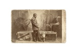Jacob Wainwright with Livingstone's Coffin, London, 1874 Giclee Print by  Elliott and Fry Studio