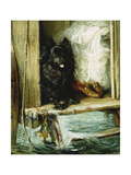 Left in Charge - a Black Pomerain on the Steps of a Bathing Machine Giclee Print by Philip Eustace Stretton
