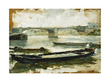 Barges on the Seine, Paris Giclee Print by Ludovico Marchetti