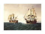 Combat Between the Spanish Ship 'Catalan' and the British Ship 'Mary' in 1819, 1888 Giclee Print by Rafael Monleon Y Torres