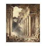 A Colonnaded Thermal Building, the Roof Partly Open to the Sky, with Girls Washing Clothes at a… Reproduction procédé giclée par Hubert Robert