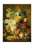 Roses, Peonies, Tulips, Morning Glory, an Iris, Columbine, a Poppy, Jonquils and Other Flowers in… Giclee Print by Jan van Huysum