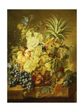 Plums, a Peach, Grapes, a Melon, a Pineapple, a Fig, Currants, Cherries and Flowers in a Basket,… Giclee Print by Jan van Huysum