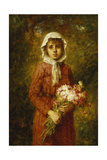 A Young Girl Holding a Bouquet of Flowers Giclee Print by Alexei Alexevich Harlamoff