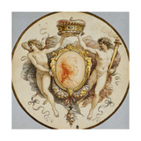 An Oval Portrait of a Woman in Profile with a Decorative Border of Grotesques and Swags, with… Giclee Print by Giuseppe Cades