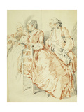 A Music Party: a Flautist and Two Ladies Holding a Songbook, a Gentleman Behind Giclee Print by Jacqes Andre Portail