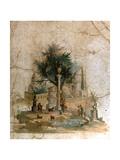 A Fresco from the Villa of Agrippa Postumus at Boscotrecase, Pompeii Giclée-tryk