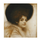 Portrait of a Lady with a Hat Gicleetryck av Franz von Stuck