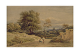 Landscape with Ruins in the Distance Giclee Print by David Cox