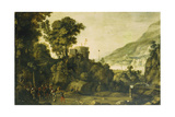 A Mountainous River Landscape with a Scene from the Life of William Tell Giclee Print by Paul Brill Or Bril
