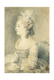 Portrait of the Artist's Wife (Nee Louise Nicole Godeau), Seated, Half Length, Turned to the… Giclee Print by Augustin De Saint-aubin
