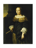 Portrait of a Lady, Three-Quarter Length, Wearing a Black and Green Dress, Holding a Fan, on a… Giclee Print by Ferdinand Bol