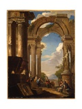 Capricci of Roman Ruins with Figures Giclee Print by Giovanni Paolo Pannini