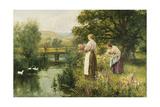 Gathering Spring Flowers Giclee Print by Henry John Yeend King