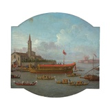 View of the Bucintoro Anchored in Front of San Nicolo Al Lido, Venice, for the Ceremony of the… Giclée-tryk af Antonio Joli
