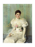 Portrait of a Lady, Seated Three Quarter Length, Wearing a White Dress, 1895 Giclee Print by Vittorio Matteo Corcos