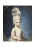Portrait of the Marquis De Fleury as an Infant in a Padded Hat, with a Plume, Holding a Gold and… Giclee Print by Louis Vigee