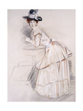 Portrait of Madame Helleu Leaning on a Table Giclee Print by Paul Cesar Helleu