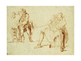 Studies of Two Men Giclee Print by Nicolas Lancret