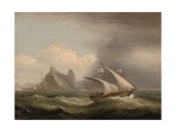 An Armed Xebec in the Mediterranean, a British Frigate Off Her Stern and Running Past a Rocky… Giclee Print by Thomas Luny