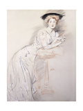 Portrait of Miss Taylor Leaning on a Table Giclee Print by Paul Cesar Helleu