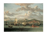 Dutch Shipping Off the Bay of Smyrna with a State Barge Giclee Print by Abraham Storck