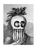A Man of the Sandwich Islands in a Mask, Illustration from 'A Voyage to the Pacific', Engraved by… Giclee Print by John Webber