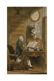 Monsieur De Cormainville in His Library, Writing at His Desk Giclee Print by  Carmontelle