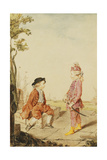 The Two Youthful De Neuville Brothers, on a Quay, 1767 Giclee Print by  Carmontelle