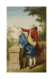 The Prince of Saxe-Gotha with His Tutor, Baron D'Hel...On a Terrace, 1768 Giclee Print by  Carmontelle