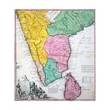 Map of the Indian Peninsula, 1733 Giclee Print