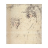 Portrait of Georgiana, Duchess of Devonshire and Lady Elizabeth Foster Giclee Print by John Downman