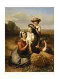 The Harvester's Family, 1855 Giclee Print by Francois Verheyden