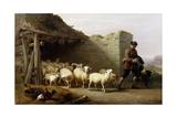 A Shepherd and His Flock, 1862 Giclée-Druck von Eugene Joseph Verboeckhoven